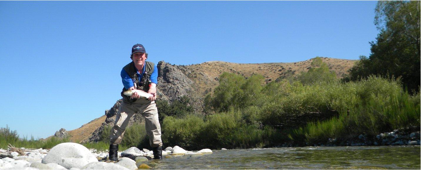 Fishing Opuha River in New Zealand